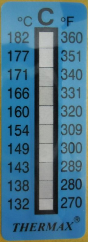 Single Temperture Strips 132-182 degrees C